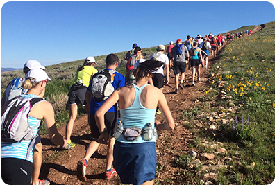 Running uphill at the Bighorn Trail Run