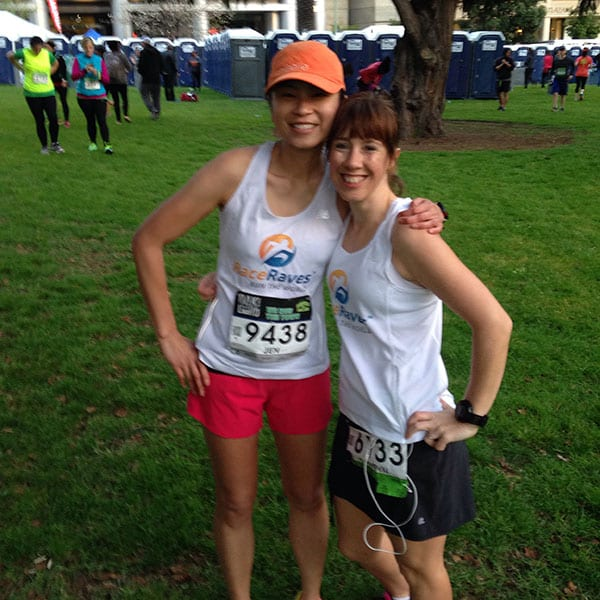 Jen Lee and Cathryn Ramsden repping RaceRaves at the Oakland Running Festival Half