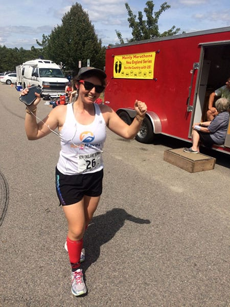 Marina White repping RaceRaves at Mainly Marathons in Rhode Island