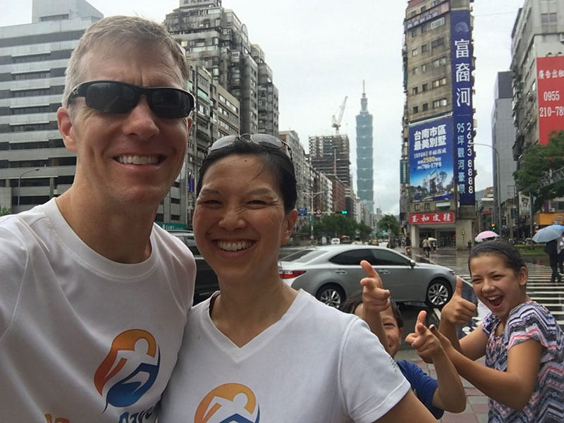 Mike Sohaskey and Katie Ho (RaceRaves co-founders) in Taiwan