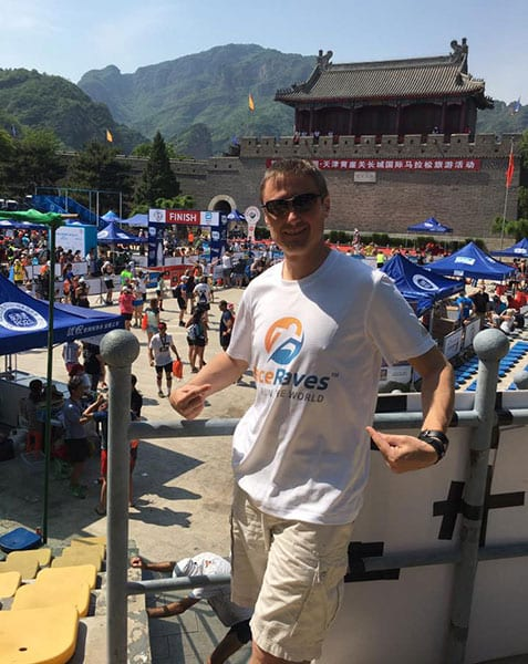 Scott Guillemette repping RaceRaves at the Great Wall Half Marathon outside Beijing