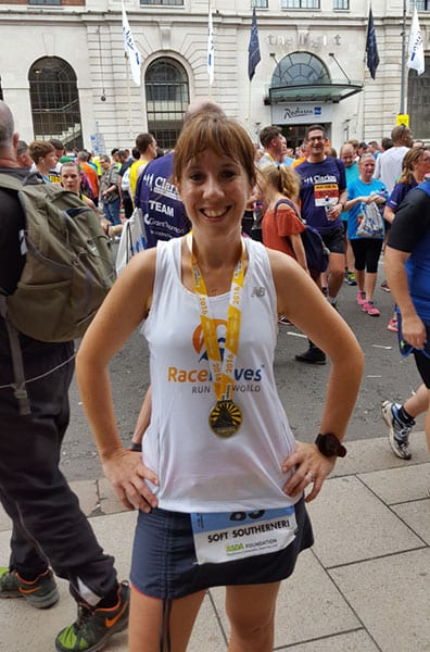 Cathryn Ramsden repping RaceRaves at the Leeds 10K
