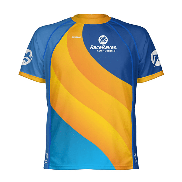 RaceRaves Pacific performance tee (front view)