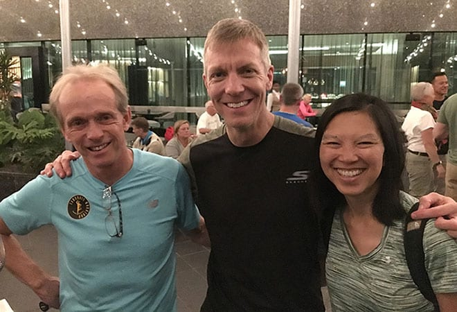 Bruce Fordyce with RaceRaves co-founders Mike Sohaskey and Katie Ho
