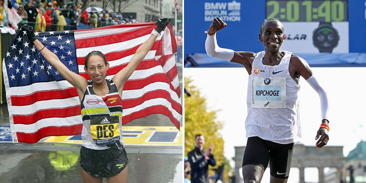 Desiree Linden celebrates her 2018 Boston Marathon win, and Eliud Kipchoge celebrates his 2018 BMW Berlin Marathon victory and new marathon world record
