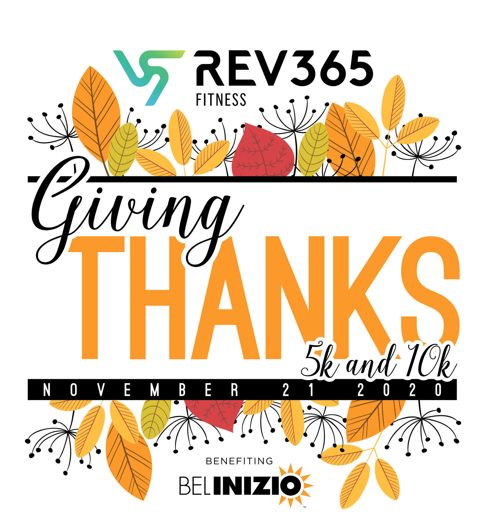 Bel Inizio's Giving Thanks 5K & 10K logo on RaceRaves